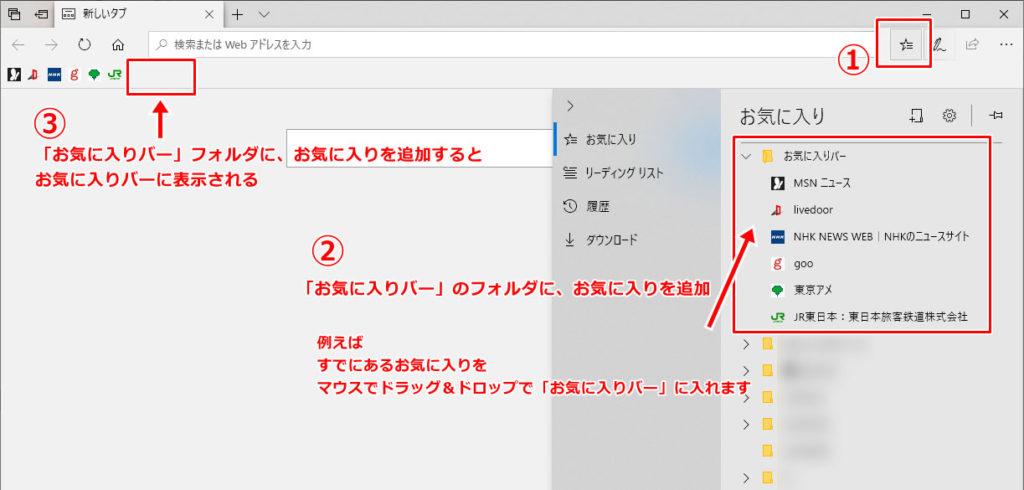Microsoft Edge お気に入りバー お気に入り 追加 表示