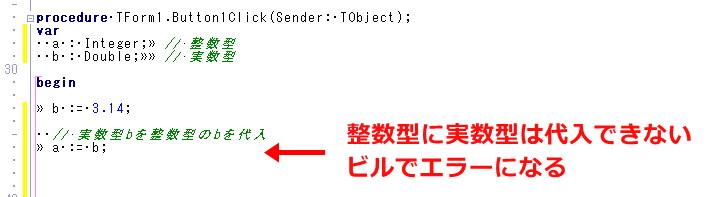 Delphi 実数型 整数型 代入 double integer 変換