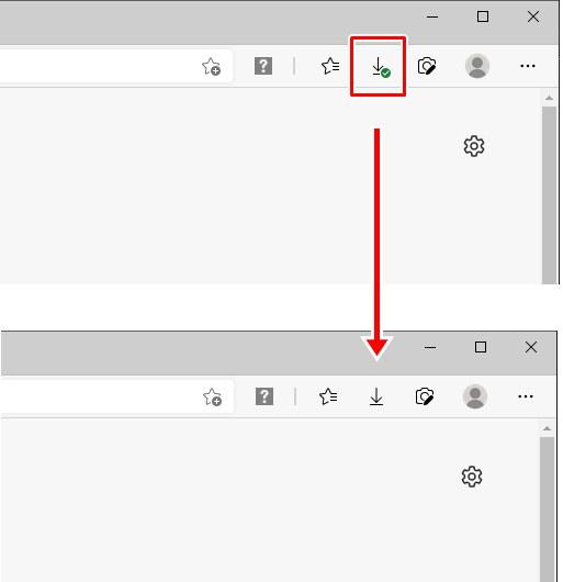 Microsoft Edge 画面上 ダウンロード 履歴 非表示
